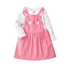 $enCountryForm.capitalKeyWord Australia - Orangemom Super nice baby girl clothing pink cartoon new long sleeve T shirt + Cat infant dresses 2 pcs baby sets for girls