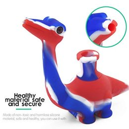 glass bongs king 2019 - The jungle king dinosaur design silicone bubbler pipe come with downstem glass piece water bongs cute animal dab rig 201