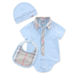 $enCountryForm.capitalKeyWord UK - Summer style design Baby Boy Girl Rompers With short sleeves Plaid Infant Jumpsuit+Hat bibs 3Pcs Casual Outfit Newborn Baby Clothes 0-24
