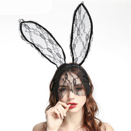 Black Bunny mask online shopping - Black Women s Lace Bunny Mask Headband Accessory Veil Masquerade Mask Halloween Party Mask Christmas Appeal Uniform Accessories JK1909