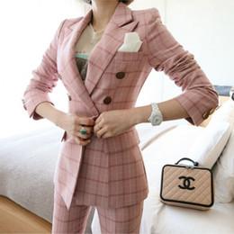 Women Wearing Double Breasted Suit Australia - Women spring lattice Autumn Double Breasted Pink Long Jacket+Long Pant Suits Businness Work Wear Suits Two Piece Set Office Suit