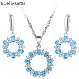 earrings models NZ - ROLILASON small fresh blue crystal 925 silver inlaid earrings   necklace   pendant classic business gifts female models JS799