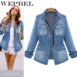 v blue jeans 2019 - WEPBEL Long Sleeve Jeans Coat Casual Denim Outwear Tops Denim Jackets Women Autumn Fashion Casual Slim cheap v blue jean