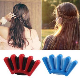 $enCountryForm.capitalKeyWord Australia - Creative Blue Red DIY Sponge Four-stranded Braid Centipede Hemp Flowers Braid Hair Care & Styling Tools Hair Accessories HA034