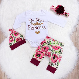 Wholesale Newbron Baby Girls Daddys Princess Letter Romper Top Floral Printed Pants Headband Hat Outfit Infant Spring Clothing Set