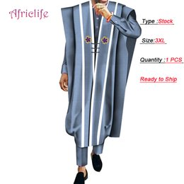 lower clothing wholesale Australia - Lowest Promotion Stock Robe,Shirt and Pant Set 3 Pieces Cotton Pant Suit African Print Men Wedding Party Traditional Clothing