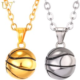 men basketball necklace Canada - U7 Necklace Basketball Stainless Steel Hip Hop Pendant Sport Fans Gift, 22'' Link Chain, Gold Color Men Jewelry Necklaces P1096