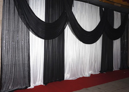 3M high*6M wide backdrop with swags background valance wedding backcloth stage curtain (10ft*20ft) funeral backdrop with Sequins draps