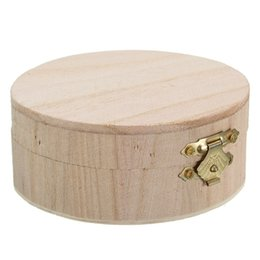 Round Folding Tables Australia - New Arrival Natural Round Wooden Box Gifts Small Wooden Jewelry Exquisite Boxs Wedding Table