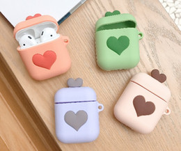 Discount fashion color headset - Cartoon Love Heart For AirPods Protective Cover Bluetooth Wireless Earphone Case Fashion Silicone For Apple Airpods Head