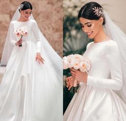 Design long Dress muslim online shopping - 2020 New Design A Line Wedding Dresses Bateau Neck Satin Long Sleeves Simple Zipper Back Court Train Middle East Plus Size Bridal Gowns