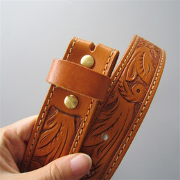 $enCountryForm.capitalKeyWord Australia - New Men Women JEAN'S FRIEND Original Light Coffee Hand Crafted Western Flowers Solid Real Leather Belt With Brass Screws