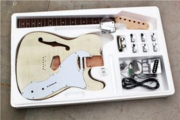 Discount customize guitar - Factory Custom Semi-hollow Electric Guitar Kit(Parts) with Basswood Body,Flame Maple Veneer,Chrome Hardwares,Offer Custo