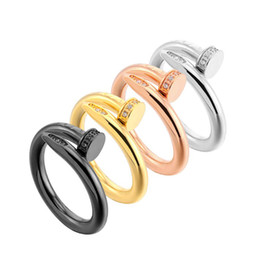 $enCountryForm.capitalKeyWord UK - Top Quality Stainless Steel Gold Nail rings with diamonds silver rose gold lovers Band Rings for Women and Men Couple rings NO original box