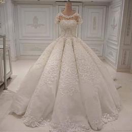 Dresses plus size Designer 18w online shopping - Designer Wedding Dresses Elegant Long Gorgeous Dubai Arabia Ball Gown Lace Appliques Crystal Beads Short Sleeves Bridal Gowns Wedding Dress