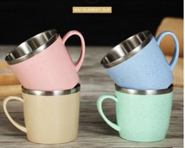 $enCountryForm.capitalKeyWord Australia - wholesale 304 stainless steel coffee mug The wheat element colorful environmental friendly household cup children drink water cups KKA7223