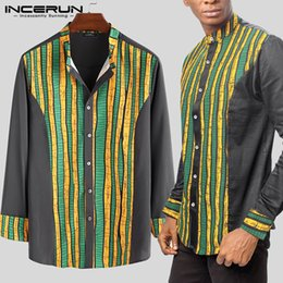 long sleeve african print dresses Australia - INCERUN Dashiki African Clothes Men Long Sleeve Shirts Printed Traditional Stand Collar Tops Brand Casual Dress Shirt Men S-5XL