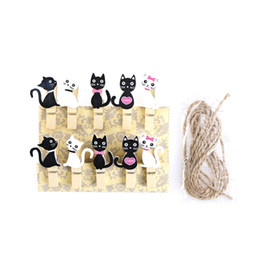 Chinese  Kawaii Wood Photo Paper Clip Lovely Cat Mini Car Bee Egg Wooden Clips With Hemp Rope Party Decoration 10pcs Mini Nice Food Clip manufacturers