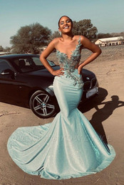 mint plus size shirt NZ - Mint Green Sequined Mermaid Prom Dresses Sexy African Lace Appliques Evening Gown Black Girl Formal Party Dress