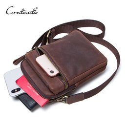 Cell Phone Body Australia - CONTACT'S 100% genuine leather men waist pack for cell phone shoulder bag travel pouch small crossbody bags card holders bolsas