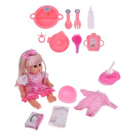 miniature baby toy Australia - Dollhouse Miniature Nursery Room Furniture Decor - Baby Doll Tableware Set & Newborn Baby Girl Dolls - Kids Pretend Play Toys