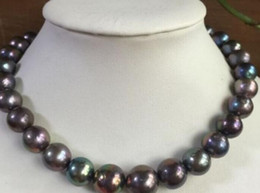 "Stunning Necklaces Australia - stunning huge18""13-15mm freshwater round black red multicolor pearl necklace 925silver"