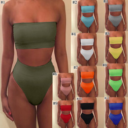 Bikini shoulder online shopping - Strapless Bikini Sexy bikinis women Set Off Shoulder Solid Bandage Push Up Padded Swimwear Swimsuit Beachwear MMA1673