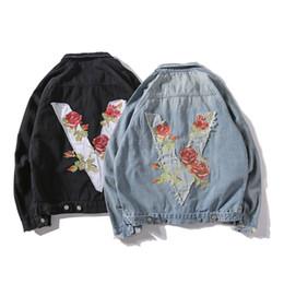 Discount flower jackets - 2018 Spring New jacket Men Rose Flower Embroidery Vintage Denim Jacket Loose Hip hop