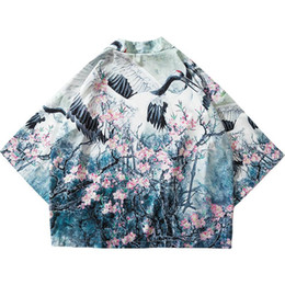 wholesale summer jackets UK - Brand Harajuku Kimono Jacket Japanese Hip Hop Men Streetwear Jacket Crane Floral Print Chinese Paint Summer Thin Gown Japan Style