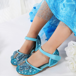 shoe fashion party for kids 2019 - Spring Summer New girls Leather Shoes Casual Princess Flat Heel Party Shoes for girls Fashion Sequins bling Bow Kids dis