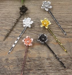 Antique Hair Clips Wholesaler Australia - 20pcs 15*6 55mm Vintage Metal bobby pin copper 3D flower hairpin rose gold silver hairclip antique bronze hair clip barrettes diy jewelry