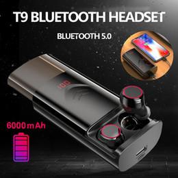 Discount bluetooth headset t9 - TWS T9 Waterproof Earbuds Earphones Wireless Bluetooth 5.0 Earphone Noise Reduction Sports Headset With 6000mAh Charging