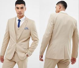 Discount burgundy men prom suit - Newest Cool Beige And Fine Notch Lapel Wedding Groom Tuxedos Men Suits Wedding Prom Dinner Best Man Blazer (Jacket+Vest+