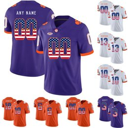 e3af7a7a91d Mens NCAA Clemson Tigers 13 Hunter Renfrow 4 DeShaun Watson 16 Trevor  Lawrence 7 Austin Bryant College Football Jerseys USA Flag Lettering
