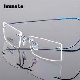 399c81b71d34 Imwete Lightweight Rimless Glasses Frames Memory Titanium Eyeglasses Frame  Spectacle Prescription Optical Frames Myopia
