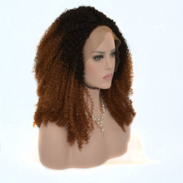 $enCountryForm.capitalKeyWord Australia - Kinky Curly Hand Tied Synthetic Lace Front Wig Black Roots Ombre Brown Color Heat Resistant Fiber Hair For Women Wigs