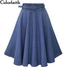 bdd1c9708249 Autumn Winter Fashion Women Skirt Vintage Retro High Waist Pleated Midi Skirt  Denim Flared Belt Skirt Saia Femininas
