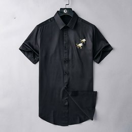 $enCountryForm.capitalKeyWord Australia - Men's Summer Lapel Short-sleeved Bee Hand-embroidered Two-color Optional Must-have Age-receiving Single-breasted Can Be Worn As A Jackets