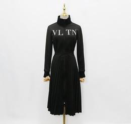 Dresses UK - 2018 Designer Women Dress High End Black Stand Collar Long Sleeves Pleats Long Womne Zipper Dress Letter Print Zipper Celebrity Style Dress