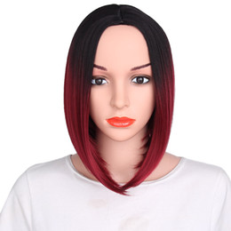 color bob wigs UK - Women Cosplay Bob Short Straight Wigs Ombre Red Synthetic for Women Party Wig