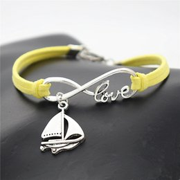 $enCountryForm.capitalKeyWord Australia - Vintage Yellow Leather Suede Wrap Bracelet Bangle for Women Men Punk Charm Infinity Love Sailing Ship Sail Boat Sailboat Amulet Jewelry Gift