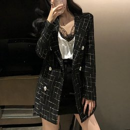celebrity suit new Australia - 2019 New Autumn Plaid Suit Coat Woman Small Fragrant Celebrity Double-breasted Blazer Jacket Chic Slim Outwear SH190930