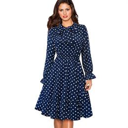 Prom Dresses Polka Dots Australia - Spring Autumn Long Sleeve Swing Skater Women Dress Vintage Polka Dot Prom Office Party Dress EA130 T5190606