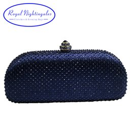 $enCountryForm.capitalKeyWord NZ - Elegante Navy Blue Crystal Box Clutch Bag and Purses Rhinestone Evening Bags SH190918