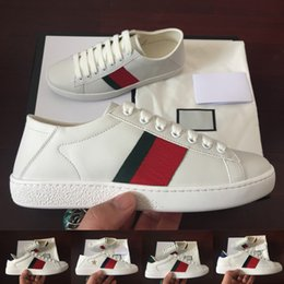 Tiger brown online shopping - 2019 Luxury Designer ACE Sneakers Men Women Top Quality White Green Red Stripe Joint Tiger knit Walking Leather Casual shoes