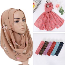 $enCountryForm.capitalKeyWord Australia - 2019 printe chiffon hijab scarf design flower shawls muslim scarves headscarf wraps Turbans headband long scarves 10pcs lot