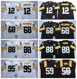 Wholesale jacks black resale online - NCAA Football Terry Bradshaw L C Greenwood Jack Ham Lynn Swann Jerseys Greg Lloyd Black White Man Vintage Stitched Good