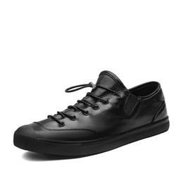 $enCountryForm.capitalKeyWord NZ - Black Casual Men Shoes Genuine Leather Sneakers Size 38-44 Fashion Man Elastic Band Flats Comfort Designer Footwear