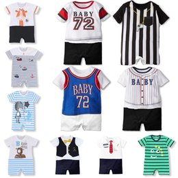 boys basketball shorts wholesale UK - Summer Baby Boy girl clothes Short Romper Fashion Basketball Uniform Toddler Kids Print Onesie Baseball Sport Style Jumpsuit Infant Outfits