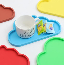 Modern Drink Coasters Australia - Cute Colourful Cloud Shape Silicone Cup Drink Coaster Mug Mat Tableware Home Kitchen Accessories Free Shipping